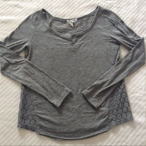 Lace back long sleeve top
